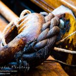 Thick tarred ropes to work the ship