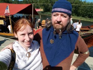 Selfie of myself and Jarl Seamus (Pete) as we wait in line to board the Draken Harald Hårfagre.